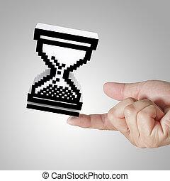 glass hour cursor on male hand