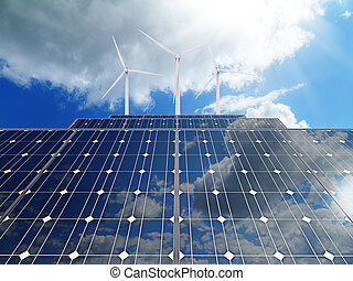 3d Powerplant with photovoltaic panels and eolic turbine
