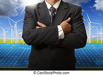 energy saving - business man success with energy saving