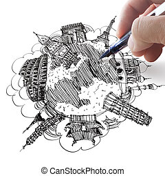 hand drawing the dream travel around the world in a...