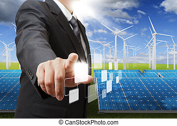energy saving - business man hand point to blank virtual...