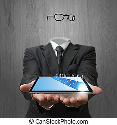 tablet computer and green energy - invisible business man...