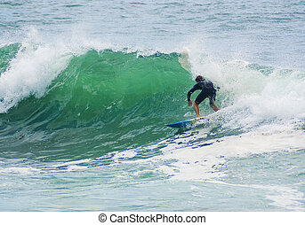 surfer surfs big wave - a surfer leans into a surf wave as...