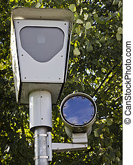 Traffic Camera - A traffic camera with a green tree...