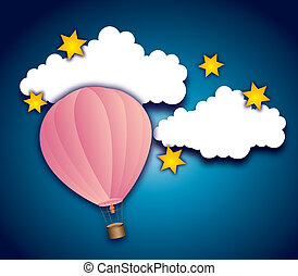 cute sky - cute air balloon with clouds and stars over night...