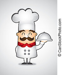 chef vector| - cartoon chef over gray background. vector...