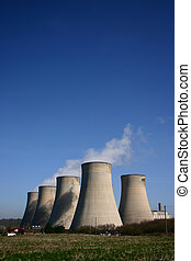 Cooling Towers - Cooling towers of a coal-fired power...