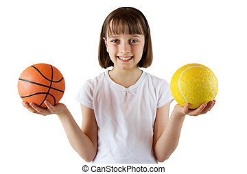 Sporty Girl - Young girl ready for a game of ball