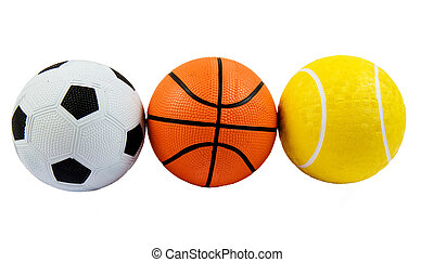 Sports Balls - Three different sports balls in a row against...