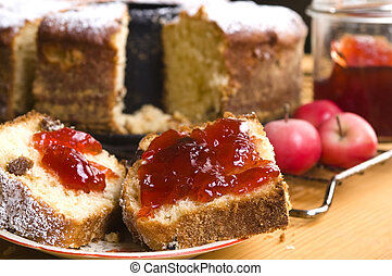 Traditional Polish Cake with apple marmelade