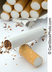 broken cigarette on white background, cigarettes in...