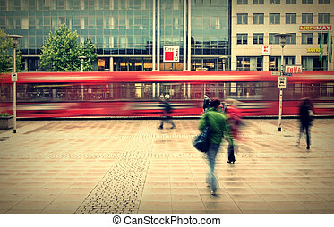 city life - Photography, long exposure, of the station...