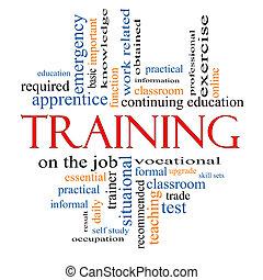 treinamento, palavra, nuvem, conceito