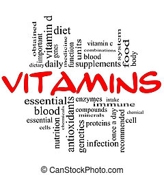 Vitamins Word Cloud Concept in red & black - Vitamins Word...