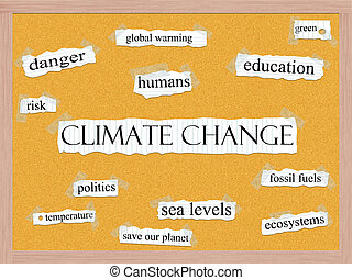 Climate Change Corkboard Word Concept