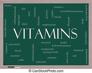 Vitamins Word Cloud Concept on a Blackboard with great terms...