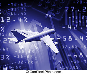 Plane against business background - Image of a plane against...
