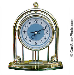 Mantel Clock - Decorative clock isolated with clipping path...
