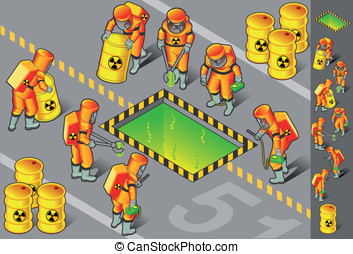 isometric nuclear area with six man - detailed illustration...