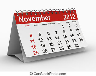 2012 year calendar November Isolated 3D image