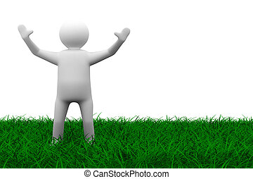 happy man on grass Isolated 3D image