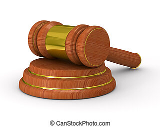 Auction gavel on white Isolated 3D image