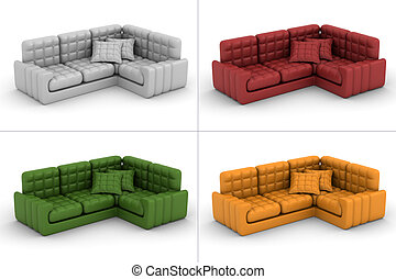 set leather sofa on a white background. 3D image.