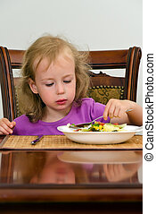 Cute little girl eating salad with spoon