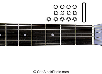 Guitar Chords Diagrams - DIY. An empty guitar neck with icons for creating a chord diagram