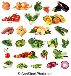 Vegetable Collection Isolated on White - Collection of...