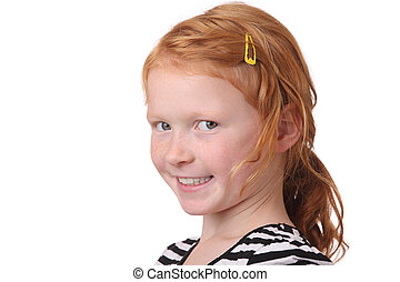 Young girl - Portrait of a young redhaired girl on white...