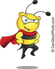 Super, abelha, -, mãos, ligado, quadris