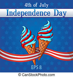 Independence Day Themed ice-cream decorated with the colors...