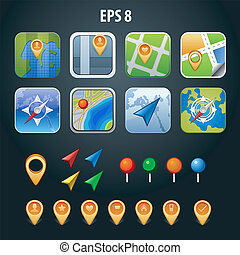 set of GPS vector icons with pin