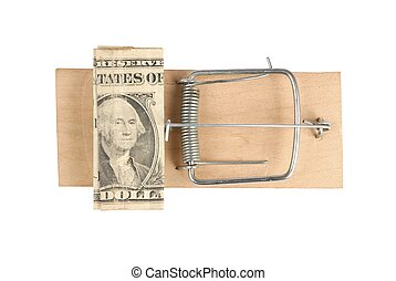Mousetrap with one dollar note isolated on white