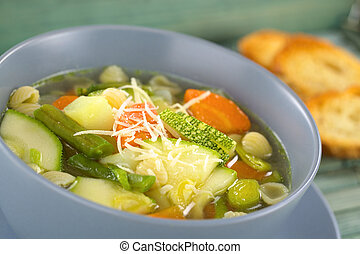Minestrone Soup - Bowl full of fresh homemade vegetarian...