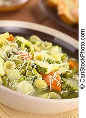 Minestrone Soup - Bowl full of fresh homemade vegetarian...