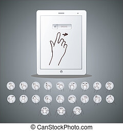 touchscreen hand icon tablet pc