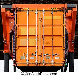 Cargo container - Lifting up orange cargo container in...