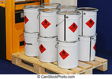 Inflammable liquid - Flammable liquid in containers at...