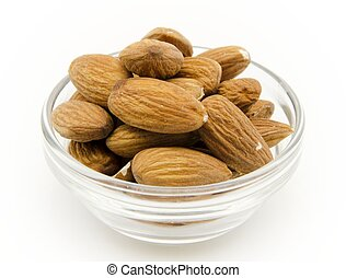 Almonds - Several raw almonds surrounded by white background