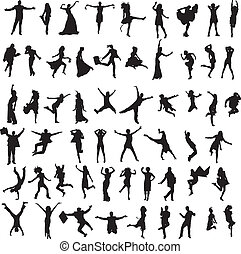 set of silhouettes of happy people - set of male and female...