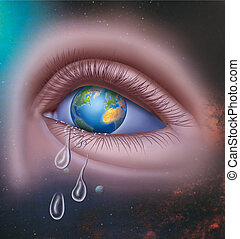 The earth cries - Earth image with an eye which few tears...