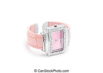 pink wrist watch on white