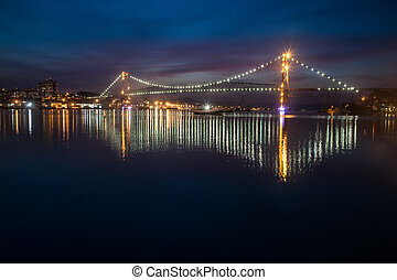 Hercilio Luz Bridge at Night - The Hercilio Luz Bridge, in...
