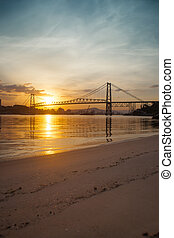 Bridge at Sunset - The Hercilio Luz Bridge, in...
