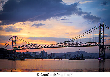 Bridge in Florianopolis at Sunset - The Hercilio Luz Bridge,...