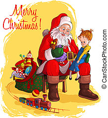 Santa Claus give presents to child - Santa Claus sitting in...