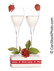 Valentines day celebration with champagne