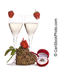 Engagement celebration with champagne